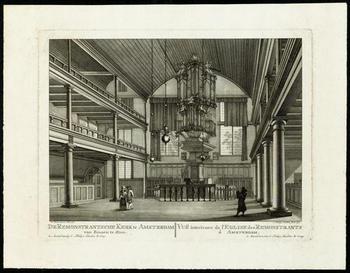 Prent van het interieur van de oude Remonstrantse Kerk