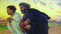 Les disciples Pierre et Jean courant au sépulcre le matin de la Résurrection Eugene Burnand 1898